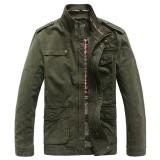 Men Winter Cotton Blend Zipper Warm Coat Jacket Outwear