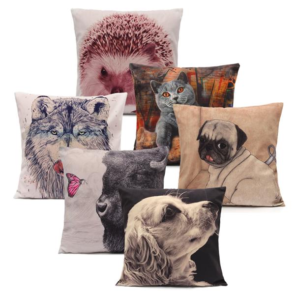 Vivid 3D Animal Short Plush Throw Pillow Case Home Sofa Car Cushion Cover Alex NLD