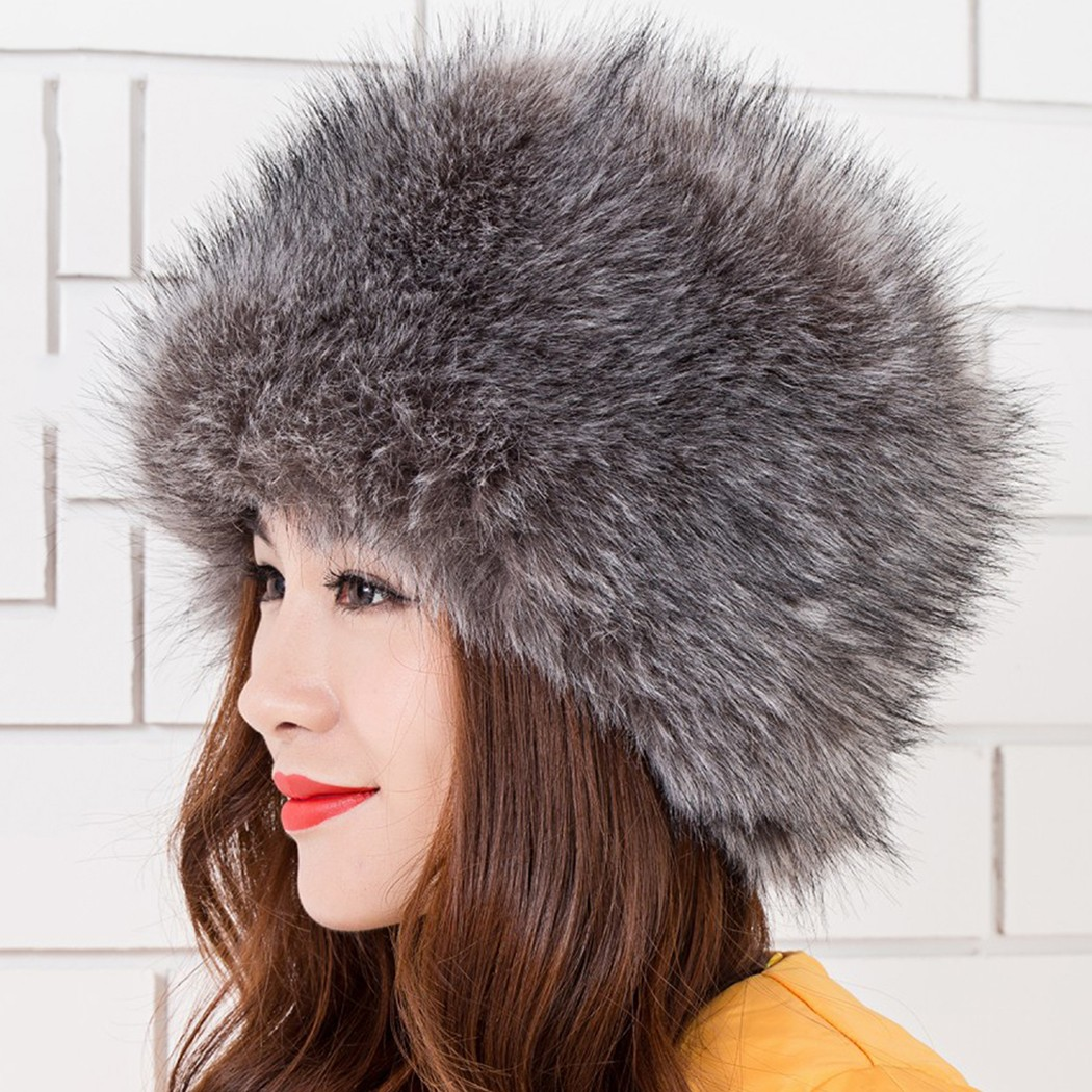 Women Las Fluffy Faux Fox Fur Russian Cossack Style Winter Hat 87a9f338323