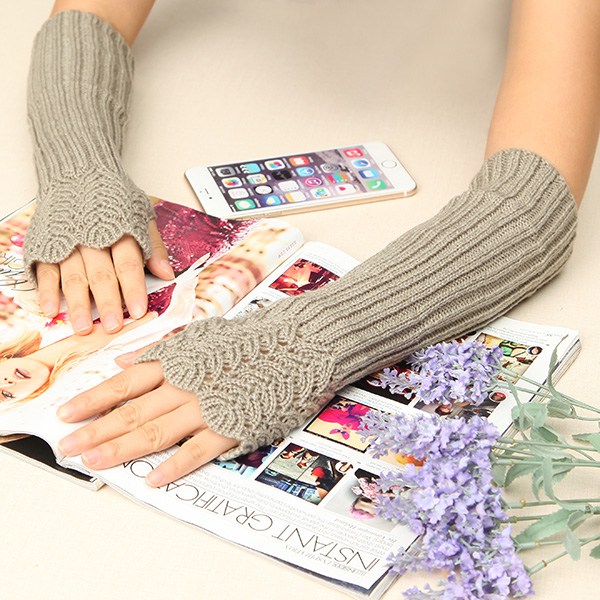 Women Female Crochet Knitting Fingerless Long Arm Warmer Gloves