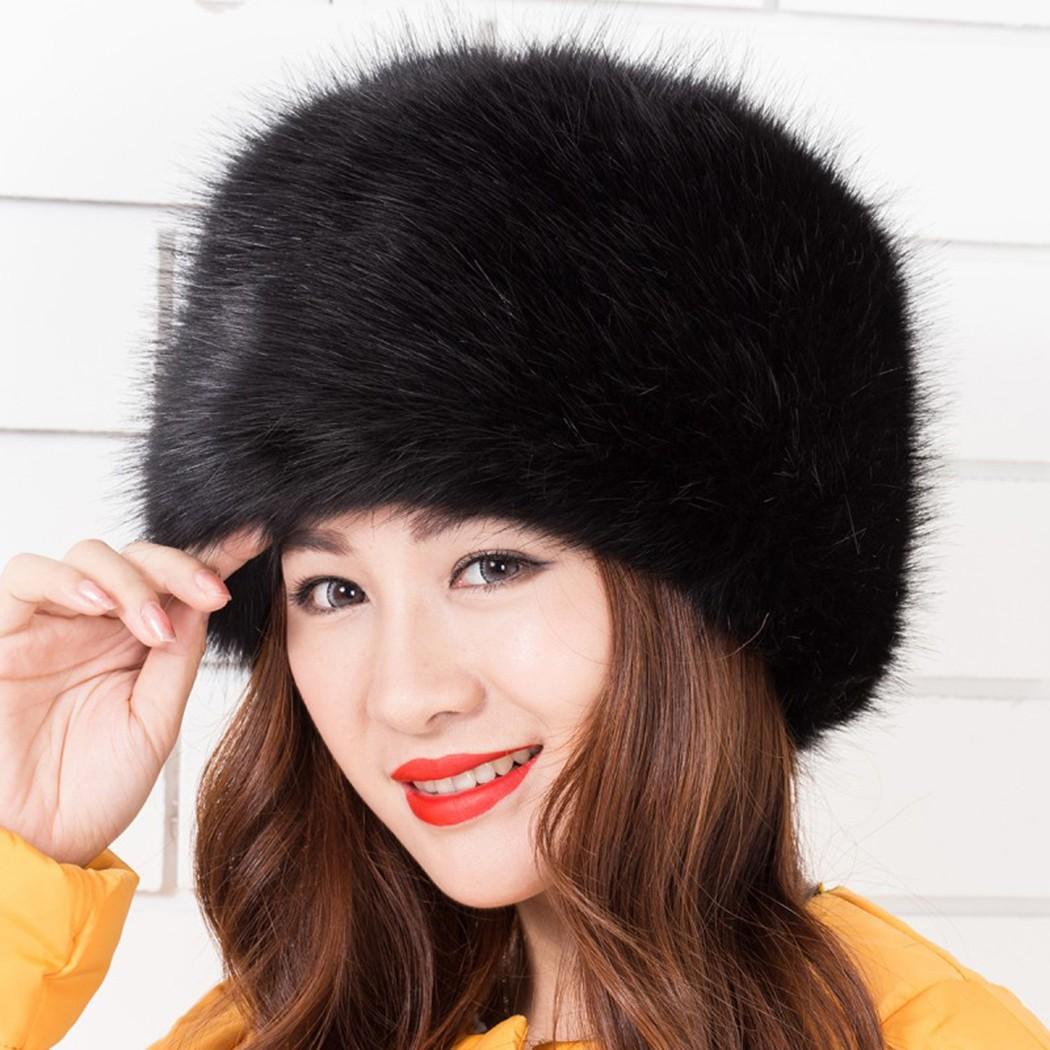 2642dd5ab Women Ladies Fluffy Faux Fox Fur Russian Cossack Style Winter Hat Warm Cap
