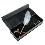 LS820-E White Silver Pheasant Dip Pen Quill Pen Gift Set Ink Included