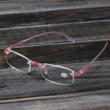 Pink Rimless Light Presbyopic Reading Glasses Fatigue Relieve Strength 1.0 1.5 2.0 2.5 3.0