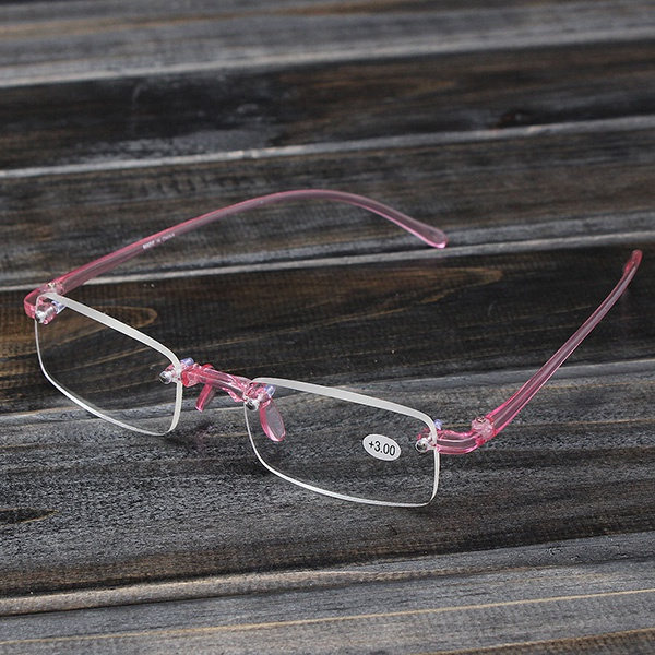 Rimless Glasses Durability : Pink Rimless Light Presbyopic Reading Glasses Fatigue ...