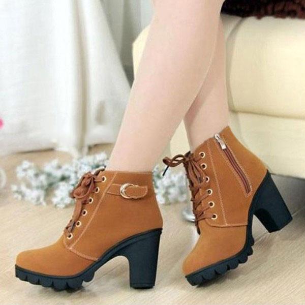 Women Girl High Top Heel Ankle Boots
