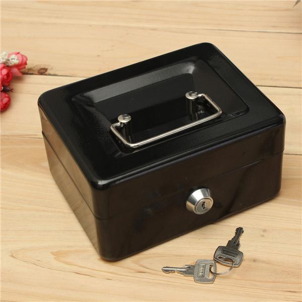 Cash Money Accessory Box Security Lock Lockable Metal Safe Small Case 150x120x80mm