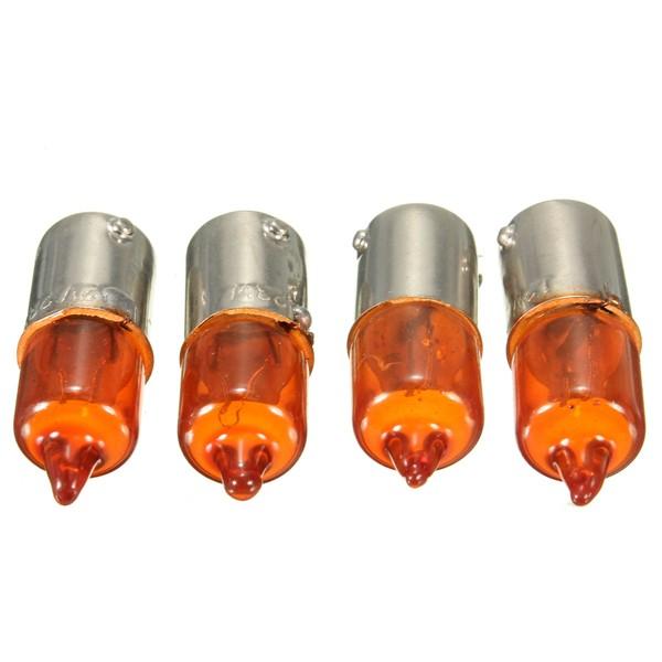 4pcs 12V 23w Motorcycle Turn Singal Indicator Bulb BA9S Base Mini Amber Halogen