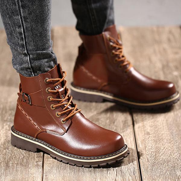 US Size 6.5-12 Big Size Men Winter Cotton Boots Lace Up Leather Plush Boots