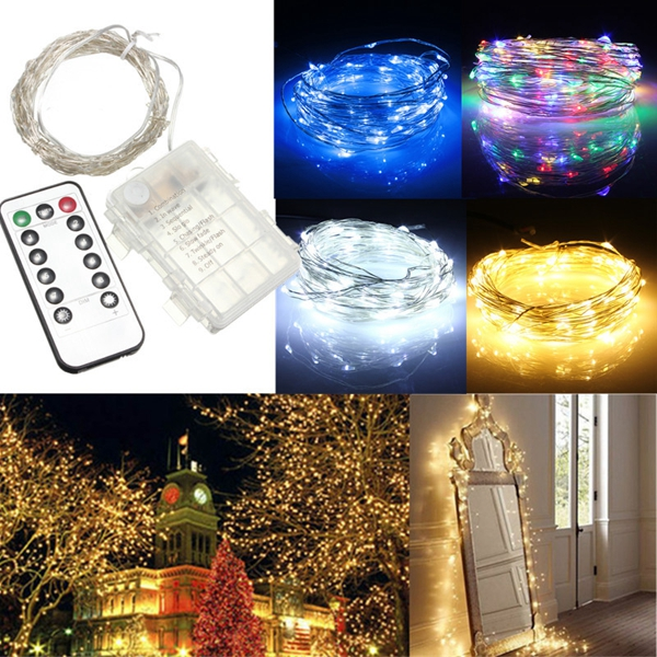 Christmas Lights You Control With Your Phone: 10M 100 LED Battery Operated Silver Wire String Fairy