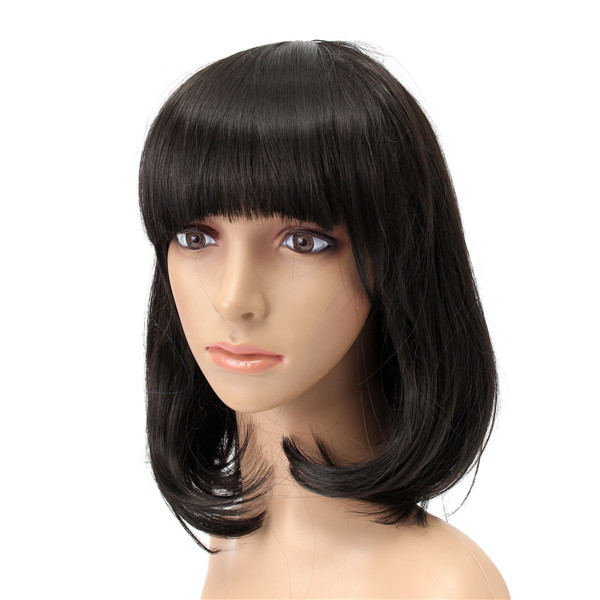 Short Wavy Curly Bangs Wig Hair Costume Cosplay Synthetic Full Wigs Cute High-temperature Fiber
