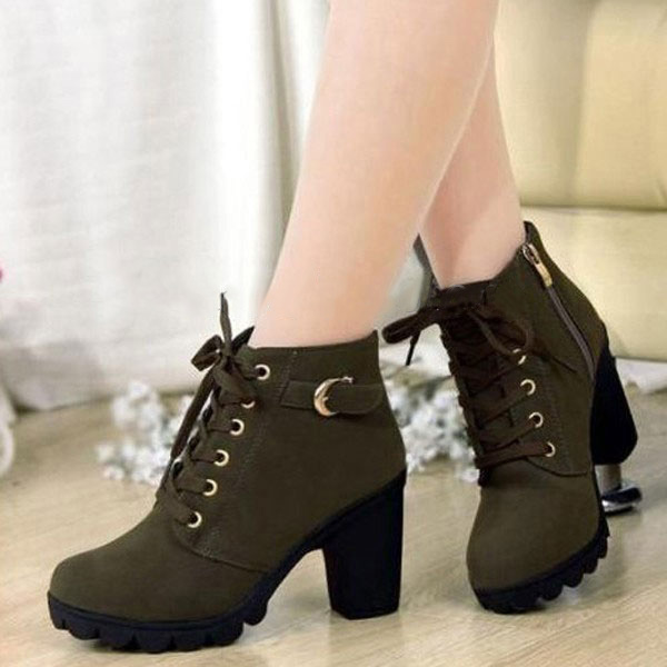 f13753117948 Women Girl High Top Heel Ankle Boots Winter Pumps Lace Up Buckle ...