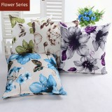 Floral Cotton Linen Throw Pillow Case Duplex Printing Waist Cushion Cover Sofa Office Decor
