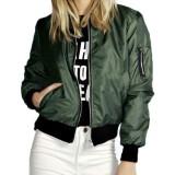 Fashion Women Stand Collar Long Sleeve Zipper Pocket Sport Jacket