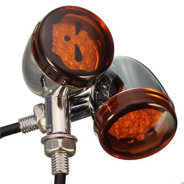 12V Motorycle Skull Turn Signals Light For Harley Davidson Softail Cross Bones