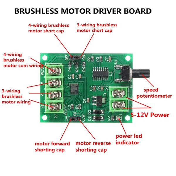 5V-12V DC Brushless Driver Board Controller For Hard Drive Motor 3//4 Wire New