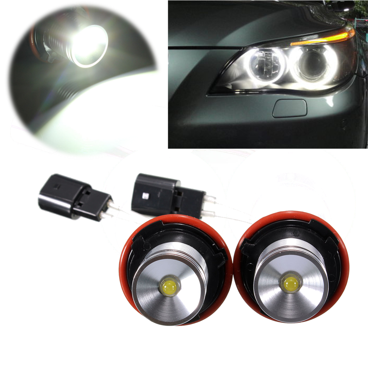 LED White Angel Eye Halo Light Bulb 5W For BMW E39 E60 E63 ...
