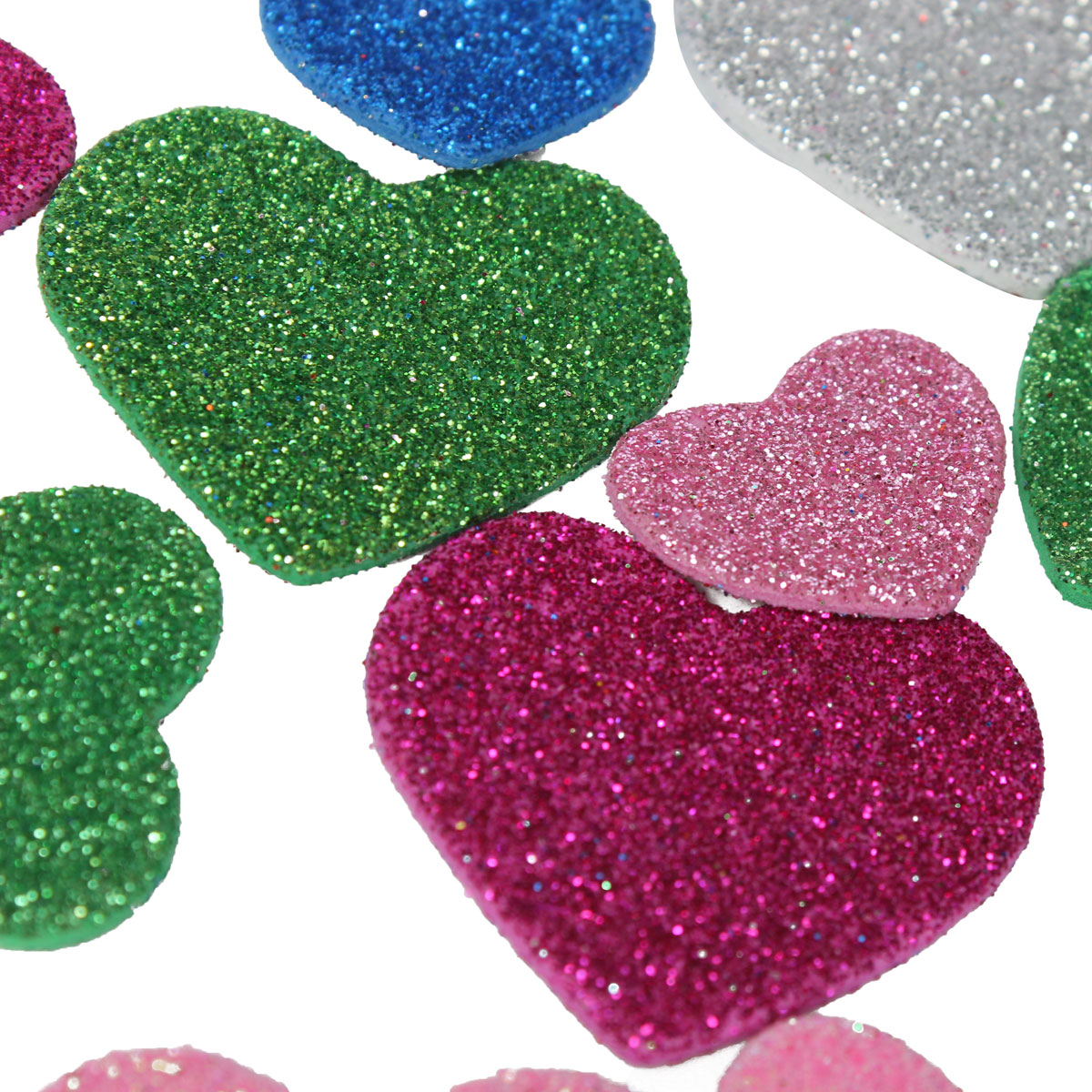30Pcs Assorted Glitter Shapes Hearts Stars Round Flowers Foam Stickers DIY Craft