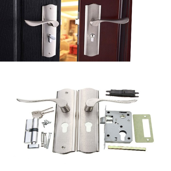Polished door handle front back lever lock cylinder dual for Front door 5 lever lock