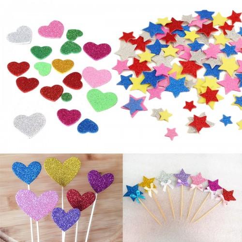 30Pcs Assorted Glitter Shapes Hearts Stars Round Flowers Foam Stickers DIY Craft