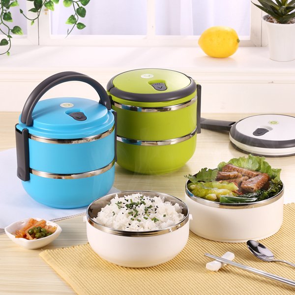 2 layers stainless steel bento lunch box portable thermal insulation lunch box alex nld. Black Bedroom Furniture Sets. Home Design Ideas