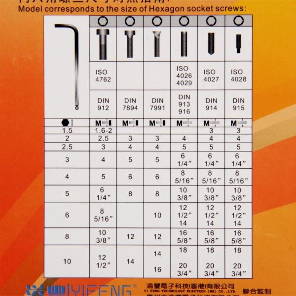 JAKEMY JM-HK2 77-185mm Extension 9 Pcs Hex Key Set