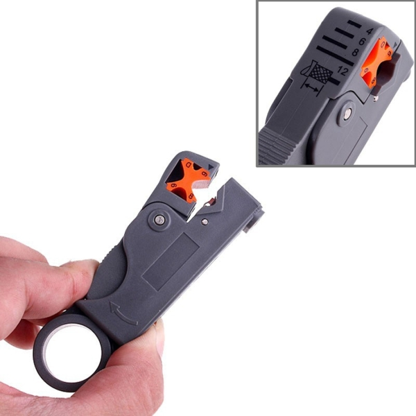 Rotary Coaxial Cable Wire Stripping Stripper Cutter Stripper for RG-59 / 6 / 58 Network Tool Computer Networking (Grey)