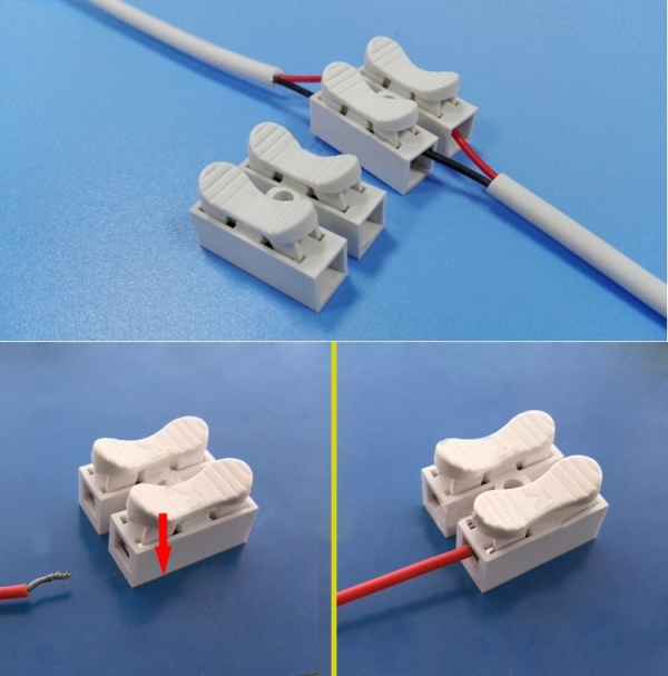 2 Way Push Quick Cable Connector Terminal Wiring Terminal 220V 2A ...