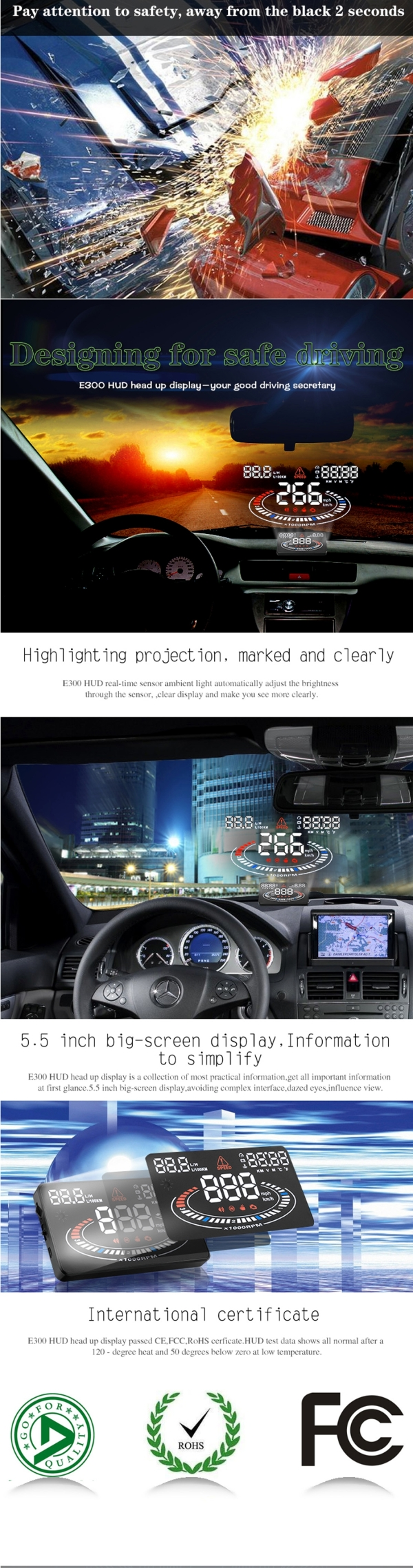 E300 5.5 inch Car OBD II / EUOBD HUD Vehicle-mounted Head Up Display Security System, Support Speed & Fuel Consumption, Overspeed Alarm,  Fuel Consumption, Water Temperature, etc. (Black)