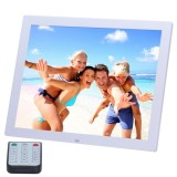 15 inch HD LED Screen Digital Photo Frame with Holder & Remote Control, Allwinner, Alarm Clock / MP3 / MP4 / Movie Player (White)