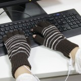 Outdoor Sport Electric Heated Half-Finger Knitted Gloves (Dark Brown)