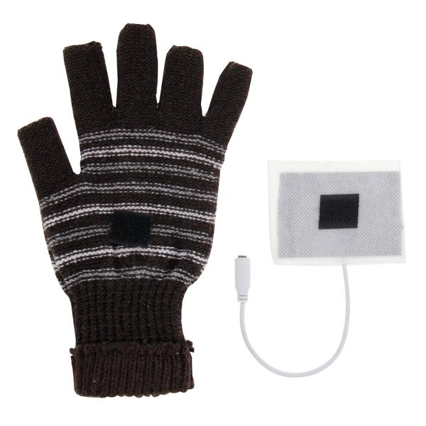 Outdoor Sport Electric Heated Half-Finger Knitted Gloves (Dark Brown)