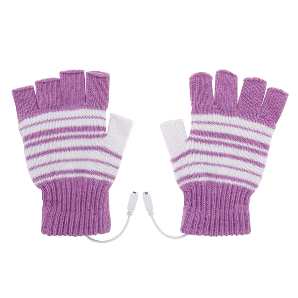 Outdoor Sport Electric Heated Half-Finger & Full-Finger Knitted Gloves for Women (Purple)