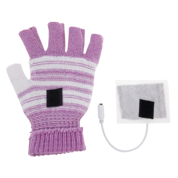 Outdoor Sport Electric Heated Half-Finger & Full-Finger Knitted Gloves for Women (Purple)