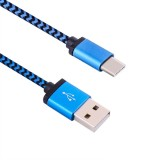 1m Woven Style Type-c USB 3.1 to USB 2.0 Data Sync Charge Cable for Macbook / Google Chromebook / Nokia N1 Tablet PC / Letv Smart Phone (Blue)