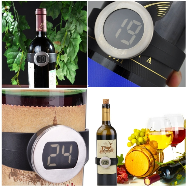 Celsius Degree Digital LCD Display Wine Bottle Thermometer, Suitable Bottle Diameter: 65-80mm (Black + Silver)