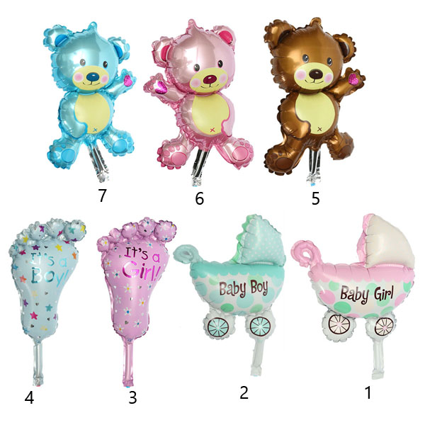 baby girl boy birthday party balloon stroller foot bear balloons