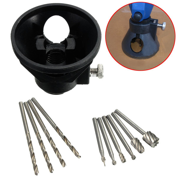 Drill Carving Locator with 4pcs 3mm Twist Drills and 6pcs Wood Milling Burrs for DremelRotary Tools
