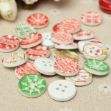100pcs Christamas Wooden Sewing Buttons DIY Craft Purse Baby Clothes Decoration Sewing Button