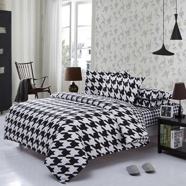 Black And White Houndstooth Bed Sheets
