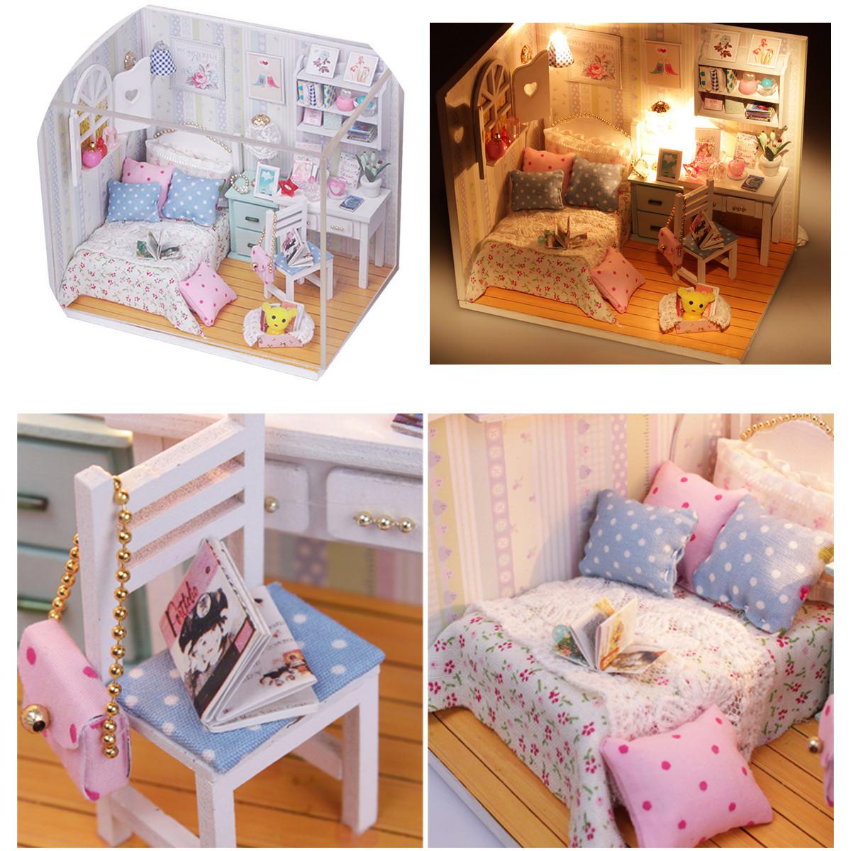 dollhouse miniature furniture. DIY Wood Dollhouse Miniature With LED Furniture Cover Doll House Room