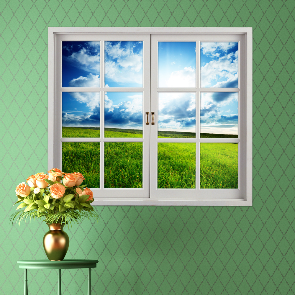 Grassland 3d artificial window view blue sky 3d wall for Glass decorations for windows