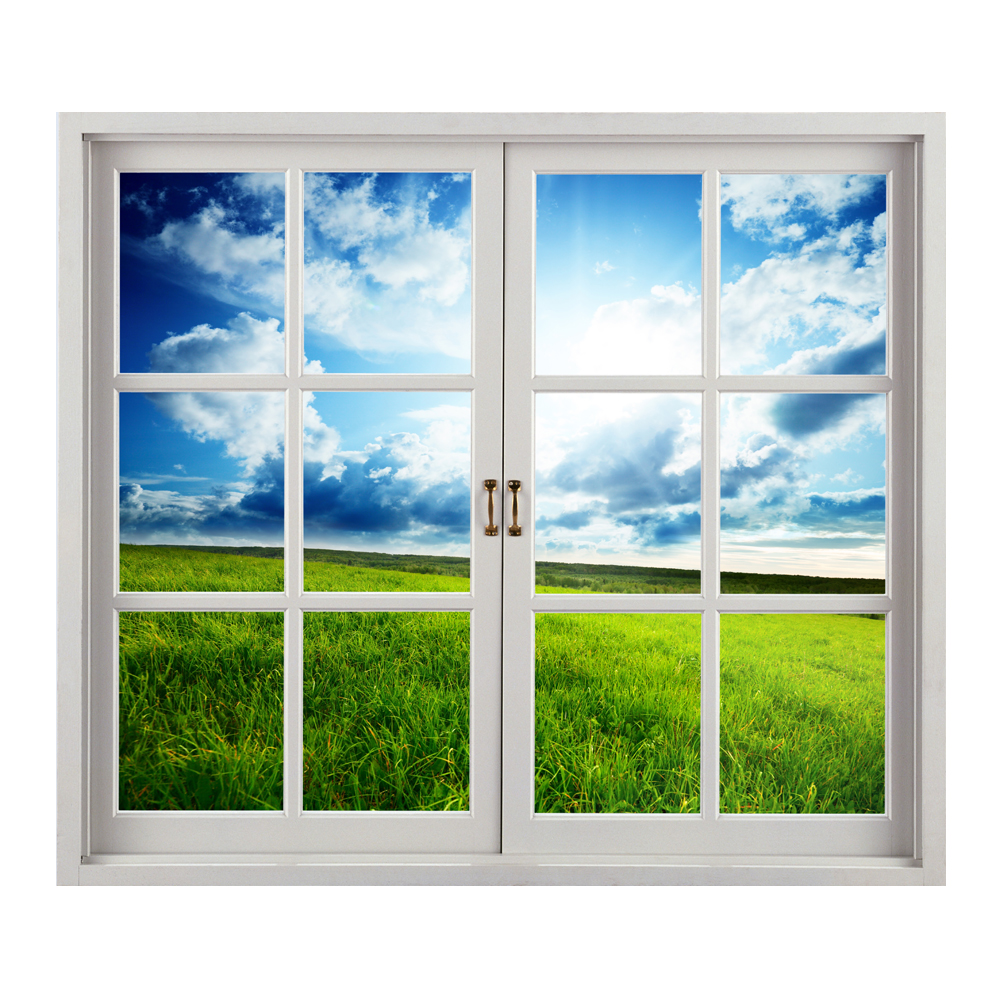 grassland 3d artificial window view blue sky 3d wall decals room pag stickers home wall decor. Black Bedroom Furniture Sets. Home Design Ideas