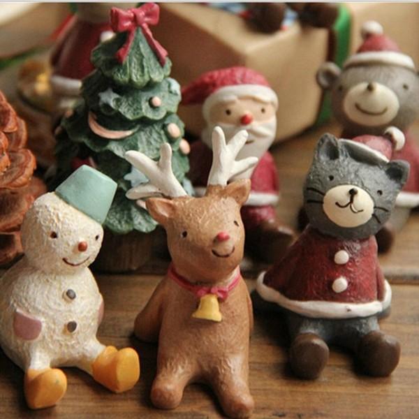 Lovely Christmas Wedding Santa Animals Decoration Cute Resin Gift Home Decor Furnishings