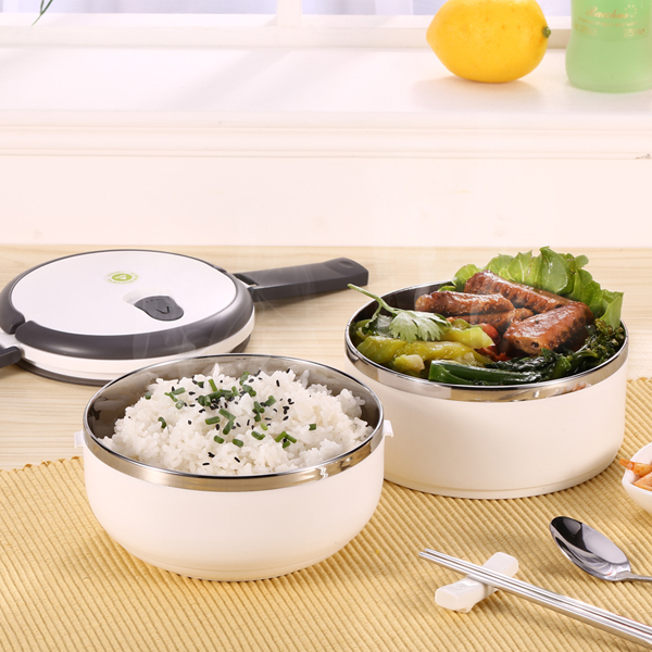 2 layers stainless steel bento lunch box portable thermal. Black Bedroom Furniture Sets. Home Design Ideas
