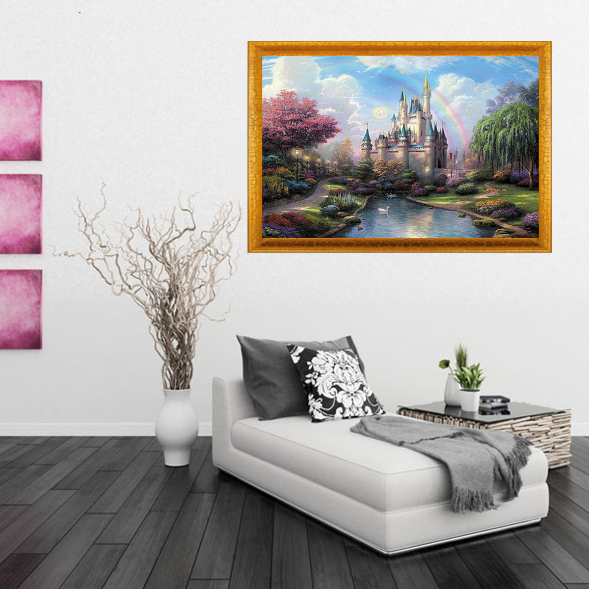 Digital oil painting castle diy oil painting by numbers for Diy paint