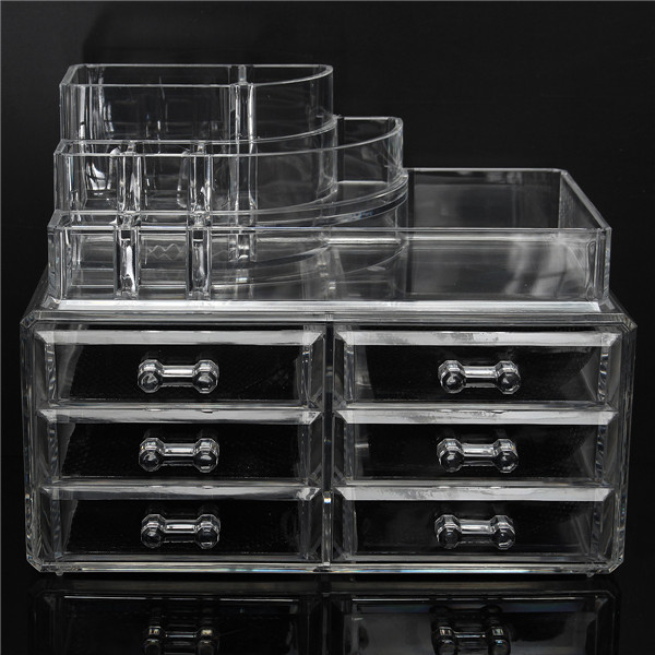 6 Drawer Clear Acrylic Make Up Organizer Drawers Cosmetic Display Holder  Case Storage 2 Layer
