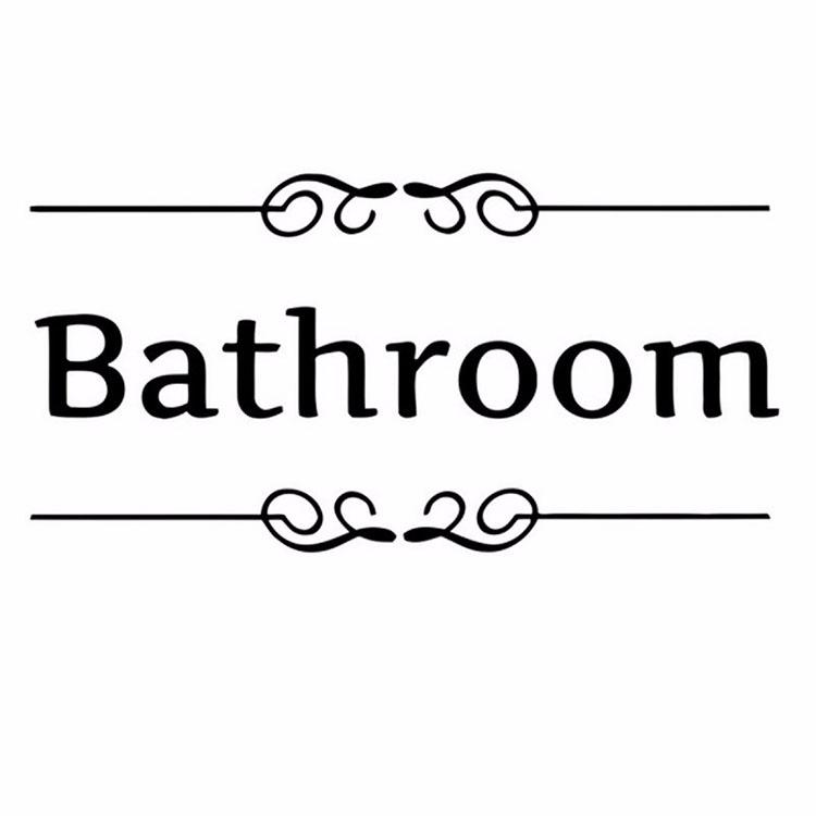 Removable PVC Bathroom Toilet Wall Sticker Door Decals DIY Home Decor