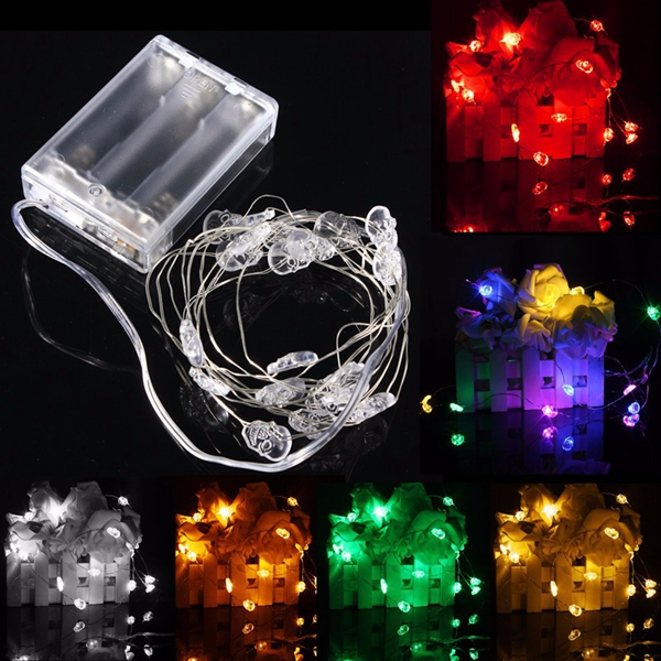 Accents White Led String Lights Battery Operated : 2M 20 LED Skull Style Battery Operated Xmas String Fairy Lights Party Wedding Christmas Decor ...