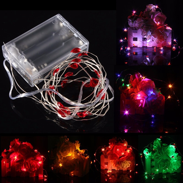 2M 20 LED Battery Powered Heart String Fairy Light For Christmas Party Weddinng Decor Alex NLD