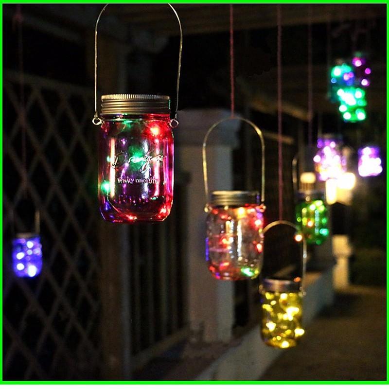 8 led solar power hanging glass jar lamp garden courtyard for Decor lights